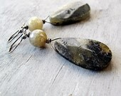 Labradorite Teardrop Earrings: Sterling Silver, Antique Finish, Gray, Sage Green