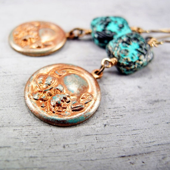 Vintage Floral Charm Earrings, Verdigris and Black, Antiqued Brass Findings
