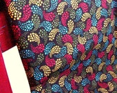 One yard- brown and red paisley print cotton fabric