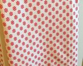 ONE YARD- Red and white cream cotton fabric