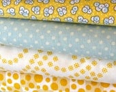 ONE YARD- Blue and white polka dot cotton fabric