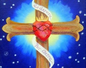 "CROSS PAINTING with Sacred Heart, Thorns, and Crown, ""Ad Aspera Per Astra"" ORIGINAL"