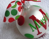 Custom Personalized Christmas Ornament - white with any color personalization