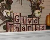 GIVE THANKS - Wood Blocks