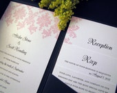 Romantic Pink, Black and White Damask Shimmer Pocketfold Invitation Suite - Set of 100