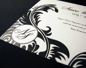 Black and White Damask Thermography Save the Date SAMPLE