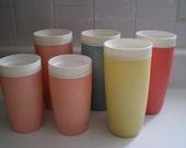 Set of 6 Vintage Bolero Tumbler Therm-O-Ware Glasses Cups
