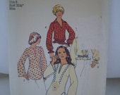 1970s Vintage Sewing Pattern - Boho Hippie Peasant TOPS - Simplicity 6777 Size 8