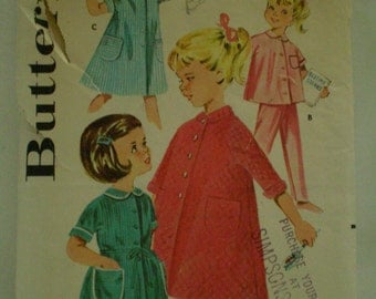 1950's Butterick 2160 Girls Sleepwear Sewing Pattern Size 4