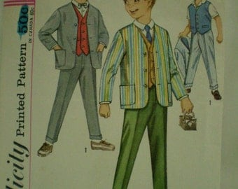 Boys 3 Piece Suit 1960s Vintage Sewing Pattern SIMPLICITY 4836