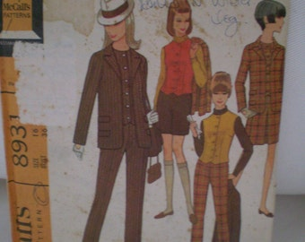 McCalls 8931 Jacket Vest Skirt And Pants Or shorts Pattern Year 1967 Size 16 UNCUT