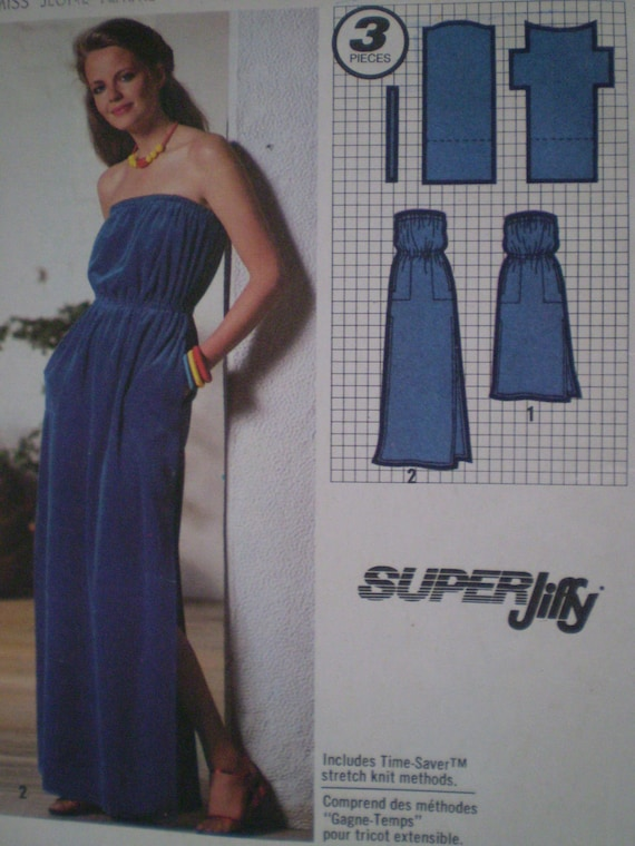 70s Simplicity 9032 Super Jiffy Strapless Pullover Dress Size Medium