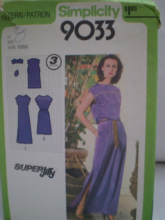 Vintage 1970's Simplicity 9033 Super Jiffy Sewing Pattern, Pullover Dress In Two Lengths, Size 14