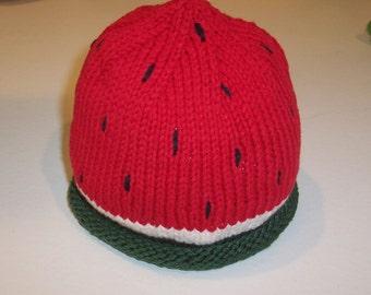 Toddler's Handknit Watermelon Cap
