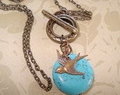 Turquoise Necklace Bird Necklace Turquoise Bead Necklace Bird and Turquoise Stone Lariat Jewelry