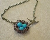 Birdnest Necklace Turquoise Pearl Necklace Bird Nest Necklace Jewelry Bird Nest Necklace Jewelry Wire Wrapped Robins Nest Fall Jewelry