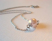Pearl Necklace Pink Pearl Necklace Pearl Pendant Jewelry Mom Necklace The Feminine Pearl