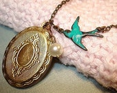 Blue Bird Locket Necklace Bird Jewelry Vintage Style Brass Locket and Pearl Necklace Bridesmaid Locket