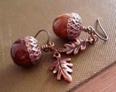 Acorn Earrings Acorn Jewelry Copper Acorn Earrings Rustic Acorn Oak Leaf Earrings Jewelry