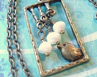 Bird Necklace Pearl Necklace Romantic Necklace Pearl Necklace Brass Sparrow Pendant Bird Jewelry