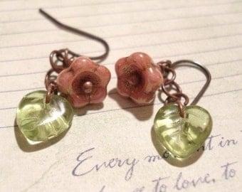 Flower Earrings Rose Earrings Bridesmaid Earrings Simple Dangle Earrings Wedding Jewelry