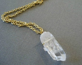 Quartz Crystal Necklace Crystal Point Necklace Quartz Pendant Stone Necklace, Crystal Pendant Wire Wrapped Necklace, Jewelry