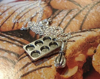 Bakers Necklace Cupcake Pan Necklace, Jewerly, Cupcake Muffin Pan with Whisk, Cooking Jewelry
