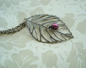 Ladybug Necklace Good Luck Necklace Leaf Necklace Ladybug Pendant with Red Ladybug  Brass Filigree Leaf Ladybug Jewelry
