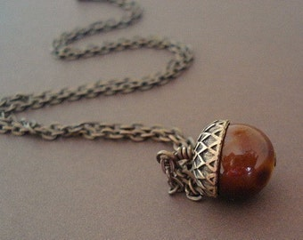 Acorn Necklace Nature Chestunt Brown Brass Whimsical Acorn - Lonely Acorn