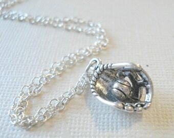 Baseball Necklace Silver Baseball Pendant Basebal Glove Necklace and Ball Silver Necklace Jewelry Pendant