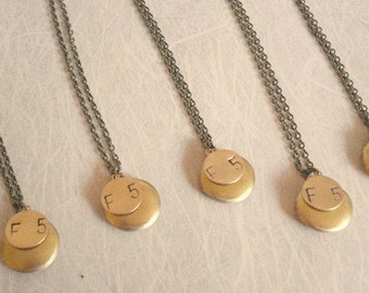 Personalized Gold Lockets Bridesmaid Lockets Necklace  - 5 SETS Brass Monogrammed Initial Charm Handstamped Letter Wedding Jewelry