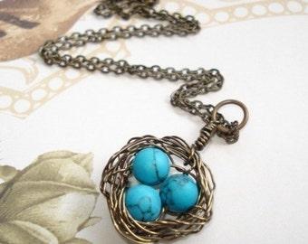 Bird Nest Necklace Turquoise Necklace Nest Jewelry Mom Necklace Birdnest Jewelry