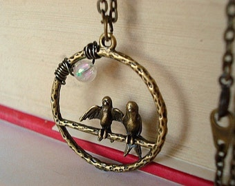 Best Friends Necklace Love Birds Necklace Friendship Jewelry - Hanging Out Together Under the Moon