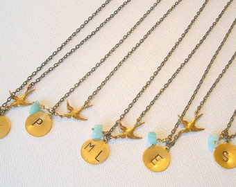 Bridesmaid Necklaces Bird Necklace Bridesmaids Jewelry, Bird Necklace Set of Five, Hand Stamped Wedding Party, Jewelry, Thank you Gifts