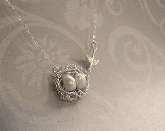Bird Nest Necklace Silver Bird Nest Necklace Nest Necklace Birdnest Pendant Silver Nest Pearl Mama Bird Jewelry Mama Bird Nest