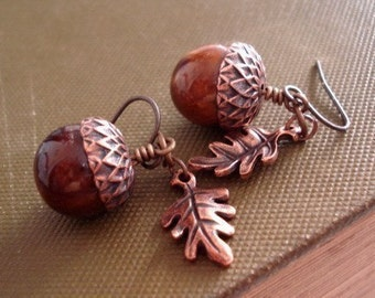 Acorn Earrings Acorn Jewelry Copper Acorn Earrings Rustic Acorn Oak Leaf Earrings Jewelry