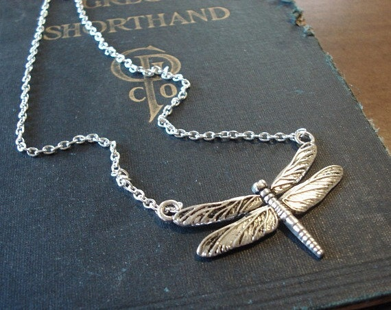 Dragonfly Necklace Dragonfly Pendant Silver Dragonfly Jewelry, Nature Woodland Necklace
