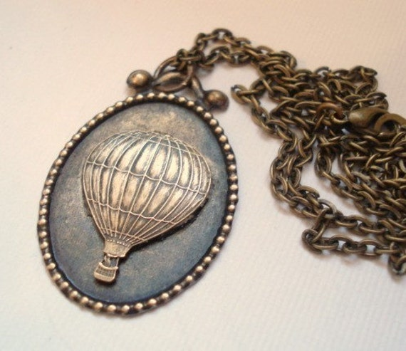 Hot Air Balloon Necklace Summer Necklace Vintage Brass Balloon, Pendant Jewelry Up Up and Away - Vintage Inspired Necklace