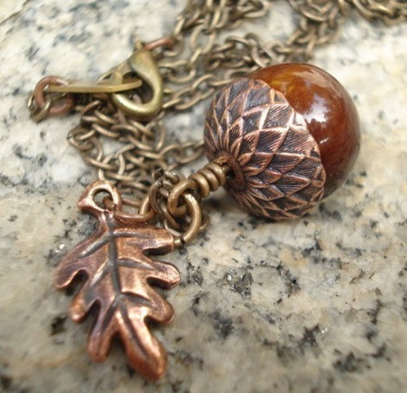 Acorn Necklace Rustic Acorn Necklace Acorn Jewelry Copper Acorn with Leaf Fall Acorn Jewelry - Oak Leaf Brass Chain