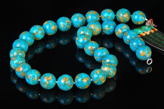 Mosaic Turquoise Beaded Necklace with Sterling Silver-Earth