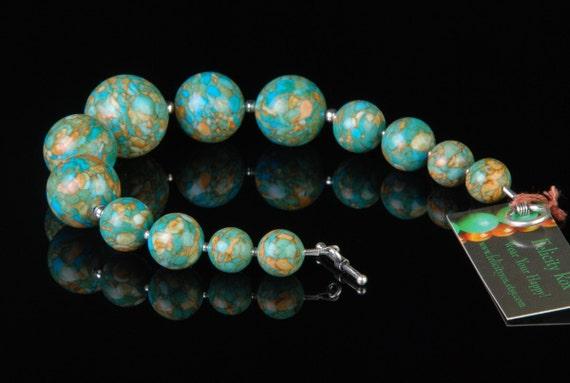Chunky Turquoise Bracelets Turquoise Jewelry Mosaic Tiles Beaded Bracelet Turquoise Bracelet OOAK Jewelry
