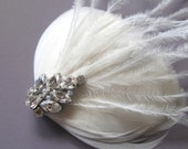 VERA Ivory Feather Fascinator, Rhinestone Bridal Hair Clip, Feather Hair Clip