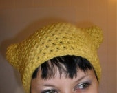 Meow Meow - Crochet Kitty Ear Hat - ACRYLIC - PICK YOUR COLOR - MADE TO ORDER