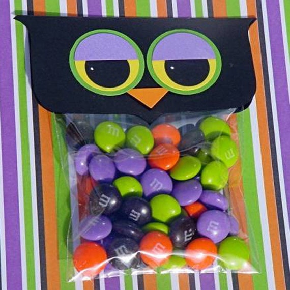 Spooky Owl Halloween Treat Topper Candy Bags (set of 12)