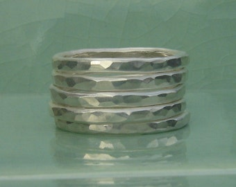 Stack 'em' even Higher a set of five stacking sterling silver rings