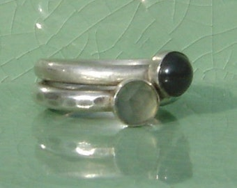 sea glass stone stack set of rings