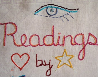 Psychic Reading, Modern tapestry, Hand embroidered, Original art, Bohemian, Outsider art, Addiction, Rehab