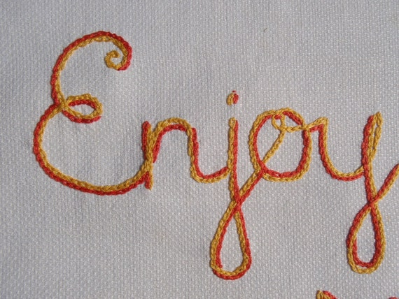 Enjoy Yourself, Modern tapestry, Hand embroidered, Original art, Birthday gift, Carpe Diem