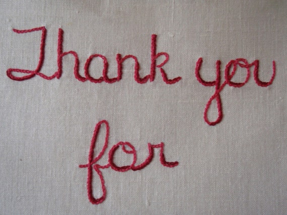 Thank You for Wearing Lipstick, embroidered wall art on vintage linen