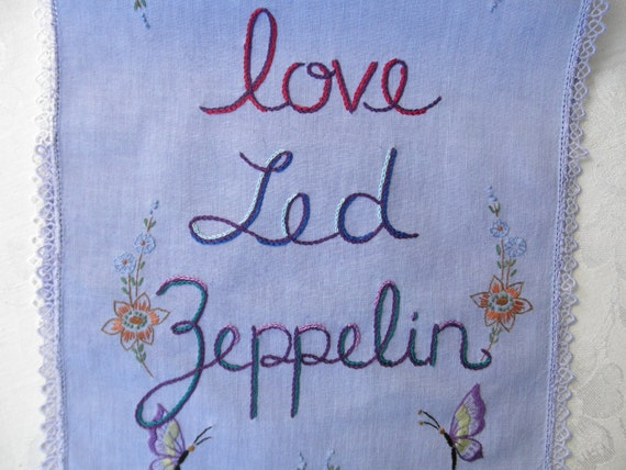Led Zeppelin Love, rock n roll wall art, embroidered art